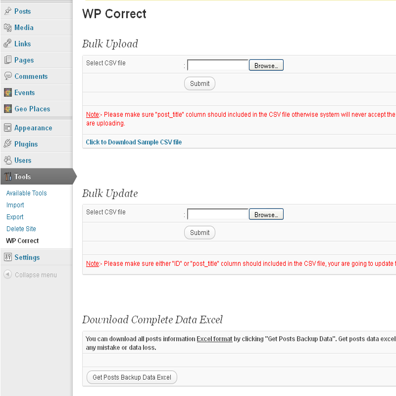 WP Corrector - Post Data Bulk Upload - Bulk Update - Backup Plugin